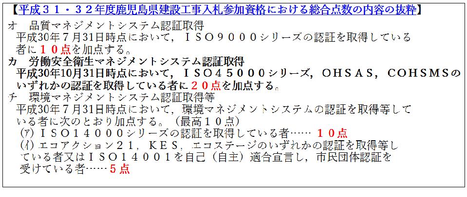 平成31-32年度鹿児島県建設工事入札参加資格における総合点数の内容の抜粋