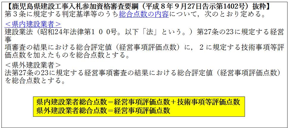 鹿児島県建設工事入札参加資格審査要網